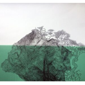 Chair and Tree in islands of ink. Submerged in green sea