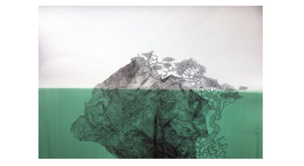 Silla and Tree in islands of ink. Submerged in green sea