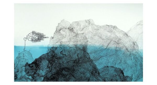 Silla and Tree in islands of ink. Submerged in blue sea II